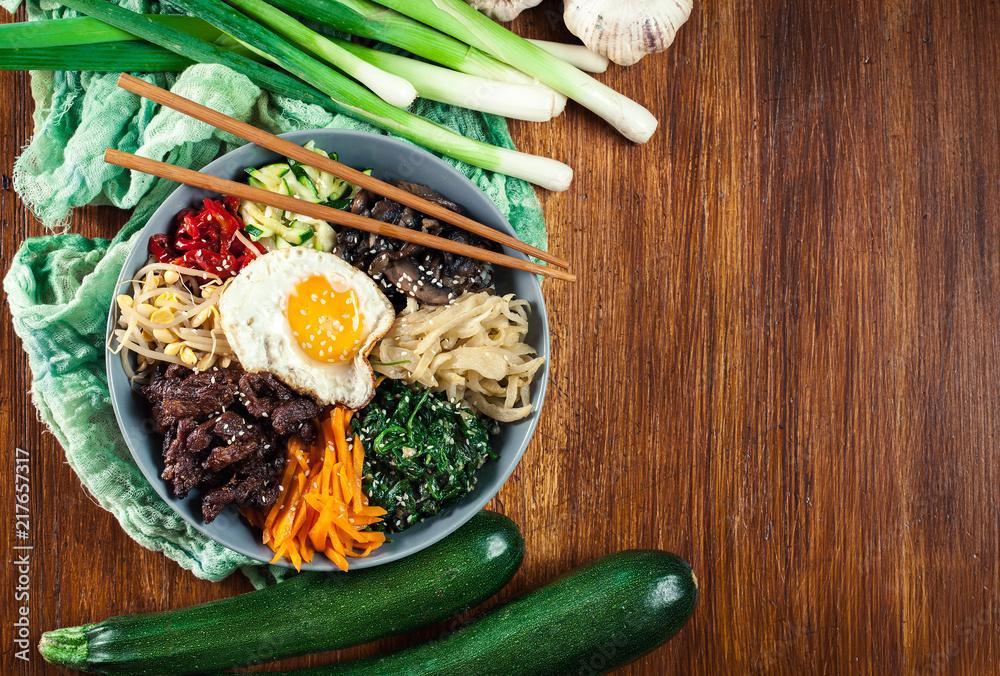Fototapeta Bibimbap - rice with beef and vegetables