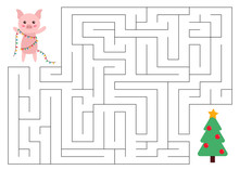 Maze Game For Kids. Help The Pig Reach The Christmas Tree. New Year Symbol - Pig. Vector Illustration