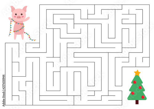 Maze Game For Kids Help The Pig Reach The Christmas Tree New Year