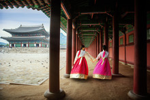 Korean Lady In Hanbok Or Korea...