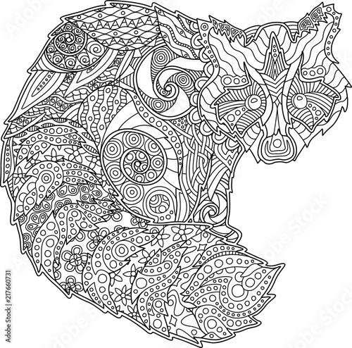 Adult coloring book page with funny raccoon – kaufen Sie ...