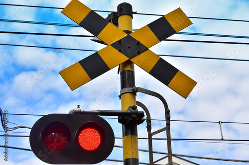 Láminas  Scene of the warning signal of the railroad crossing of the town of the day of t