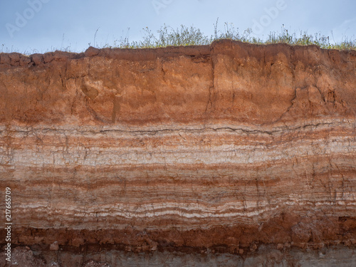 Canvastavla Natural cut of soil with different layaers, grass and blue sky