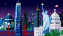 Vector Illustration Of A Night City In The United States Of America, Travel America Template Design,concept For The Web Or Polygraphy Of The USA