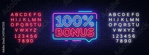 Fototapeta Bonus Neon Text Vector. Bonus neon sign, design template, modern trend design, night neon signboard, night bright advertising, light banner, light art. Vector. Editing text neon sign obraz