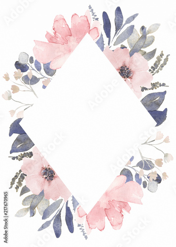 Photo Frame composition decorated with dusty pink watercolor flowers and eucalyptus gr
