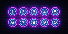 Lottery Balls Neon Signs Vector. Lotto Design Template Neon Sign, Casino, Celebration Light Banner, Neon Signboard, Nightly Bright Advertising, Light Inscription. Vector Illustration