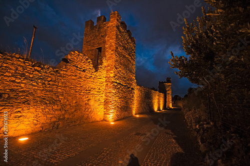 Fotografie, Obraz  Night view of the ancient medieval walls of Iglesias in Sardinia, Italy