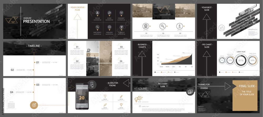 Fototapeta Brown, black, elements of presentation templates, white background. Slide set. 2018. Regional infographic. Business presentations, corporate reports, marketing, advertising, annual, booklets, banners