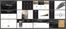 Brown, Black, Elements Of Presentation Templates, White Background. Slide Set. 2018. Regional Infographic. Business Presentations, Corporate Reports, Marketing, Advertising, Annual, Booklets, Banners