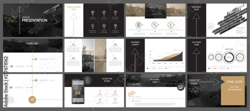 Fototapeta Brown, black, elements of presentation templates, white background. Slide set. 2018. Regional infographic. Business presentations, corporate reports, marketing, advertising, annual, booklets, banners obraz