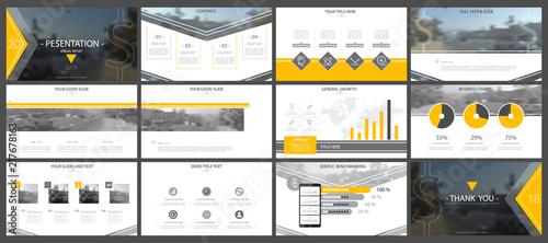 Fotografía  Set, yellow, black elements of infographics, white background