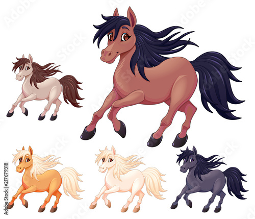 Tuinposter Kinderkamer Set of different cartoon horses