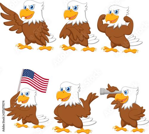 Fototapeta premium Zestaw kolekcja kreskówka orły