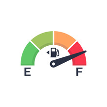 Fuel Meter. Automobile Indicator Template. Gas Gauge. Gas Tank. Car Control Sensor. Vector Illustration Flat Design. Isolated On White Background.