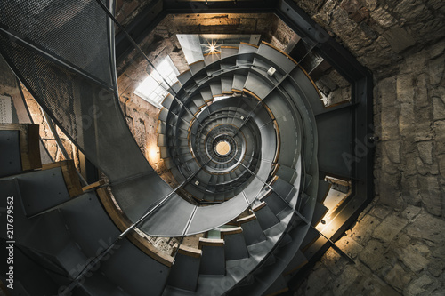 Spiral staircase in The Lighthouse, Glasgow Fototapeta