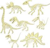 Fototapeta Dinusie - Cartoon dinosaurs skeleton collection set