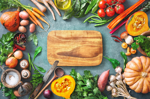 Fototapeta Healthy or vegetarian nutrition concept with selection of organic autumn fruits