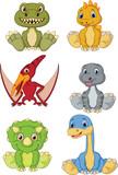 Fototapeta Dinusie - Cute baby dinosaurs cartoon collection set