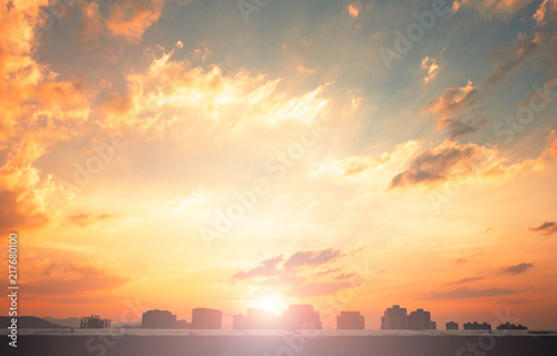Foto op Plexiglas Zonsondergang Background of colorful sky concept: Dramatic sunset with twilight color sky and clouds