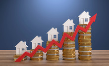 3D Illustration Steigende Immobilienpreise
