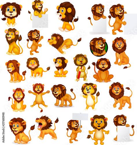 Fototapeta premium Zestaw kolekcja kreskówka lew
