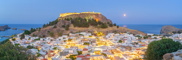 Panoramic View of Lindos at Dusk, Rhodes - Greece