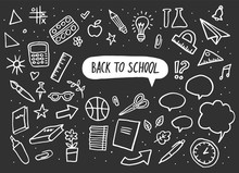 Back To School Set. Vector Lettering And Hand-drawn Graphic. Education Items. Vector Illustration