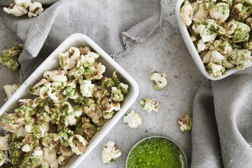 Healthy matcha popcorn snack
