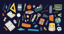 Collection Of School Stationery And Tools For Learning, Studies, Education Isolated On Dark Background. Colorful Hand Drawn Vector Illustration In Realistic Style For Knowledge Day Or 1 September.
