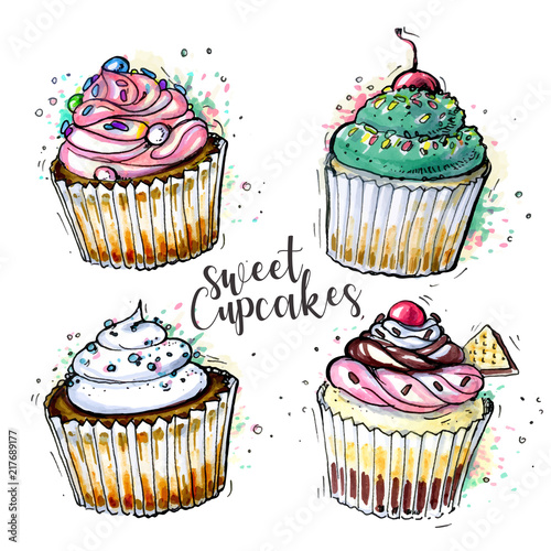 Fotomural Sketched cupcakes collection