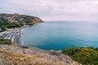 Aerial Top Panorama view of Aghia Galini beach at Crete island in Greece. South coast of the Libyan sea.