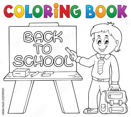 Poster Voor kinderen Coloring book happy pupil boy theme 5