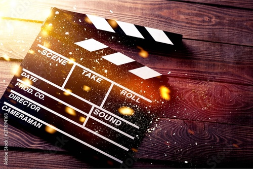 Fotografie, Tablou Clap board on wooden background