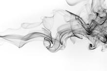 Black Smoke Abstract On White ...