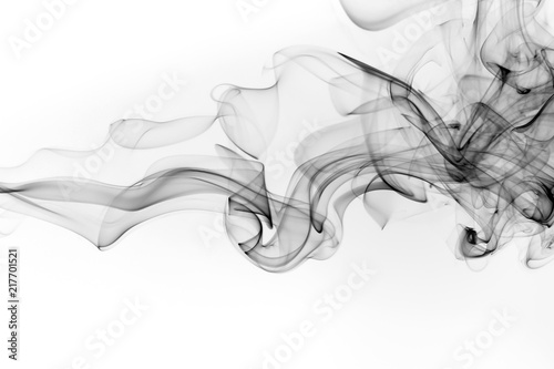 Poster de jardin Fumee Black smoke abstract on white background