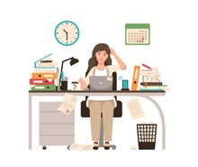 Busy Female Office Worker Or C...