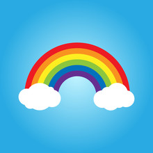 Rainbow With Clouds Vector Ill...