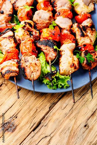 Grilled meat skewers, shish kebab