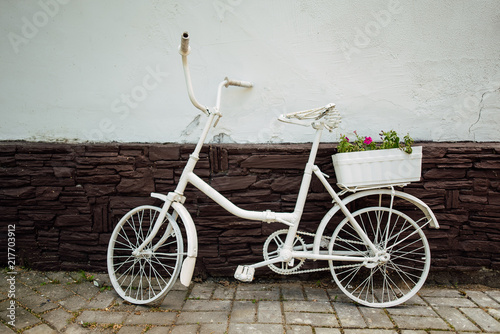 Spoed Foto op Canvas Fiets Urban bicycle with a fixed mechanism on the wall background, an old bicycle. Retro-stylish cycling in the city