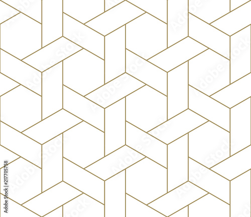 Modern simple geometric vector seamless pattern with gold line texture on white background. Light abstract wallpaper, bright tile backdrop. Wall mural