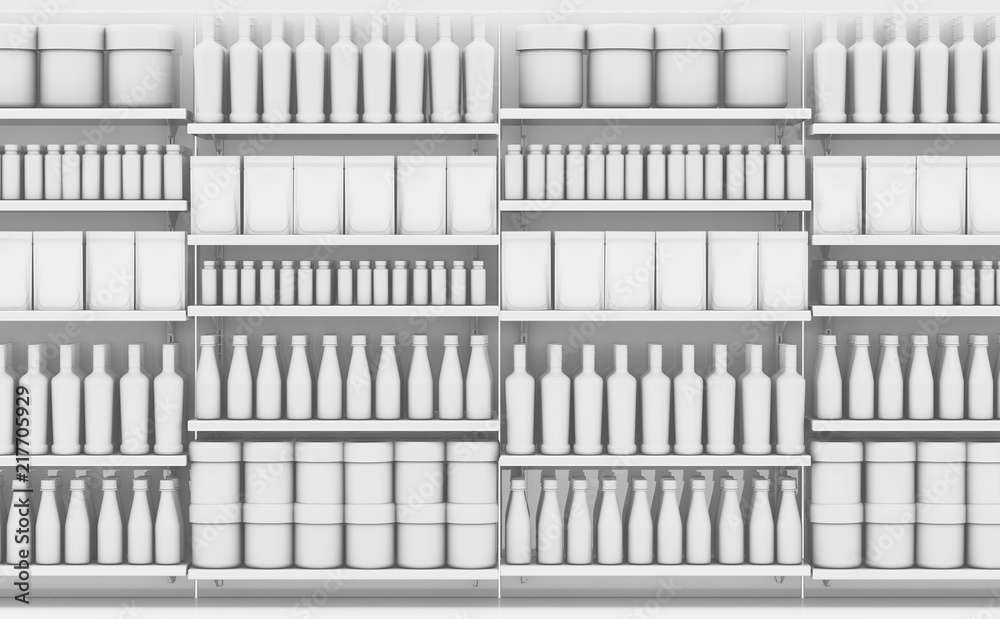 Fototapety, obrazy: Supermarket Shelf With Generic Products