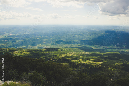 Foto op Plexiglas Grijze traf. world earth concept of soft focus colorful big valley nature scenery landscape with horizon lane from above