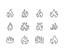Fire Flat Line Icons. Flame Sh...