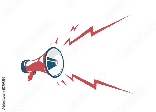 Fotografía  Vector vintage poster with red retro megaphone