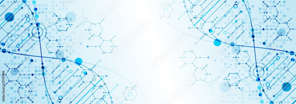 Fototapeta Science template, wallpaper or banner with a DNA molecules.