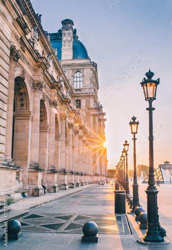 Fotografie, Obraz louvre rivoli paris coucher de soleil