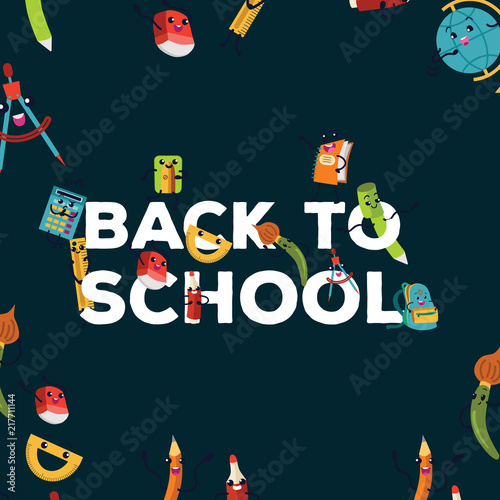 Back To School Colorful Poster Template With Various Education