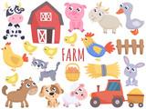 Fototapeta Fototapety na ścianę do pokoju dziecięcego - Cute farm cartoon animals and related items. Vector flat illustration.