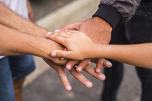 Team And Family Concpet Image With Hands Touching Together In Outdoor. Love And Relationship And Friendship Picture. Caucasian People